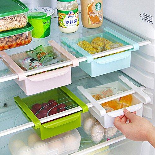 HapiLeap Vaschetta Cassetto Salvaspazio in Plastica da Fissare ai Ripiani del Frigo e Freezer, sotto Il Tavolo o sotto la Scrivania (4 PCS)
