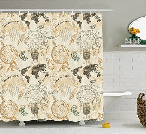 Ambesonne Wanderlust Decor Shower Curtain, Pattern with Vintage Globe World Map Airship Rope Knots Ribbon Retro Illustration, Fabric Bathroom Set with Hooks, 69W X 70L Inches, Beige Olive Green