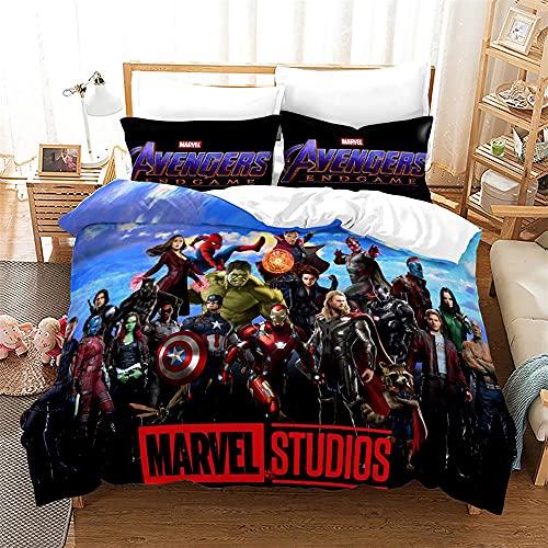 Aatensou Juego de cama de 3 piezas de Marvel Los Vengadores, con diseño de Capitán América, con funda nórdica de 135 x 200 cm y 2 fundas de almohada, microfibra