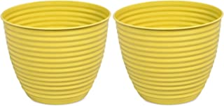 """BirdRock Home 10"""" Ribbed Planter Pot for Indoor or Outdoor Plant Flower - Flowers Plants Trees Porch Garden Pots - Rust and Weather Resistant (Set of 2 - Small, Mellow Yellow)"""