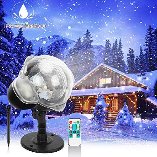 Snowfall Christmas Light Projector, Indoor Outdoor Holiday Projector Lights with Remote Control, Rotating Snow Falling Projector Lamp for Halloween Xmas Wedding Party Garden Landscape Decorative