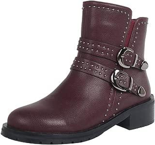 VulusValas Women Block Heel Short Boots Zip