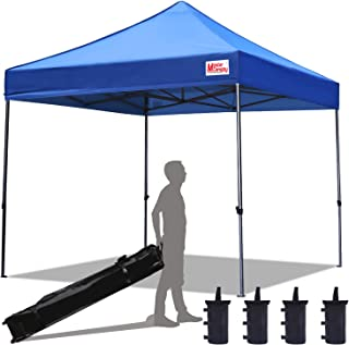 MasterCanopy Pop Up Canopy Tent Commercial Instant Canopies with Heavy Duty Roller Bag,Bonus 4 Canopy Sand Bags (10x10 Feet, Blue)