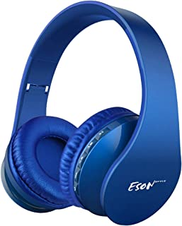 سماعات أذن لاسلكية، سماعة Esonstyle فوق الأذن V5.0 مع ميكروفون، سماعات بلوتوث لاسلكية قابلة للطي وخفيفة الوزن، تدعم وضع MP...