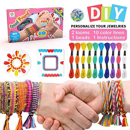Kit de pulsera de la amistad para niñas,Kit de fabricación de pulsera de bricolaje para niños de 5-10 años Regalo de cumpleaños para niñas de 5-12 años Kit de cuentas para niñas de edad presente 7 8 9