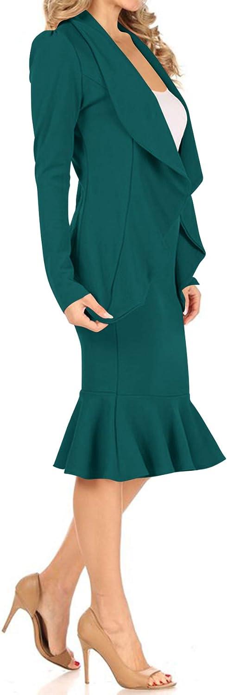 Women's Two Piece Lightweight Solid Long Sleeve Open Blazer Mermaid Midi Skirt Set