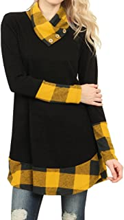 Ofenbuy Womens Tops Casual Cowl Neck Buffalo Plaid Long Sleeve Tunic Shirts