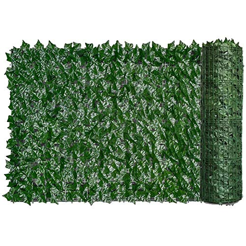 ANING Artificial Ivy Privacy Fence Screen, Artificial Hedge Fence Green Leaf Ivy Screen Plant Wall Fake Grass Decorative Backdrop for Privacy Protection Home Balcony Garden 19.7x118in (Maple Leaf)