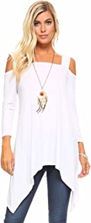 Isaac Liev Flowy Wide Strap Cutout Cold Shoulder 3/4 Sleeves Tunic Top