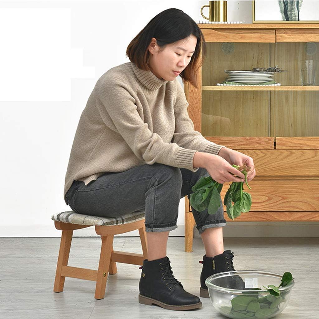 MXD Tabouret Accueil Chaussures de Changement Tabouret Meubles Créatifs Petit Banc Tabouret Tabouret Bas Tabouret en Bois À Rayures Motif Coussin (Color : Wood Color) Wood Color