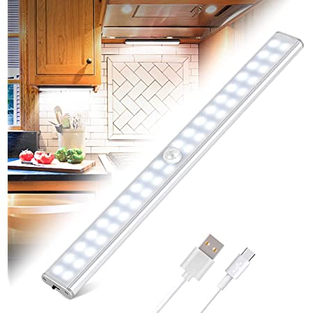Lampe de Placard 40 LEDs, Eclairage Placard Détecteur de Mouvement, Reglette Led Rechargeable USB, 4 Modes d'Éclairage, Lumière de Placard, Bande Magnetique Adhésive Veilleuse LED