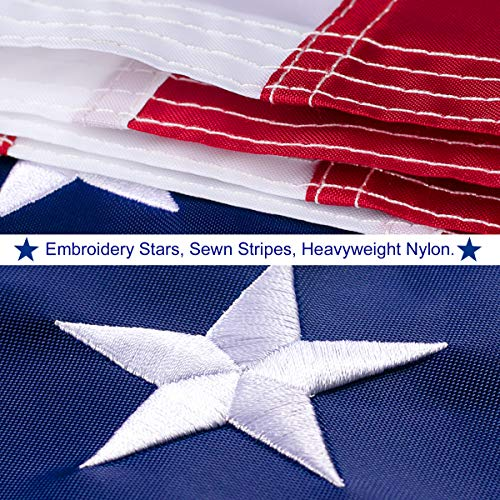 American Flag 3x5 FT Outdoor - USA Heavy duty Nylon US Flags with Embroidered Stars, Sewn Stripes and Brass Grommets