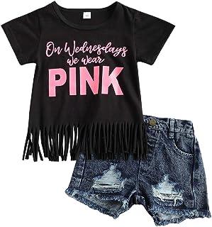 أزياء الأطفال الصغار سراويل الصيف السراويل أبسى شراشيب قمم تي شيرت ومجموعة ملابس سراويل الجينز ممزق