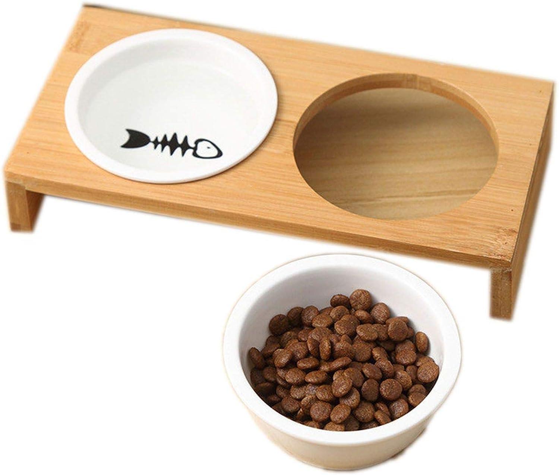 Fantacy123 Fashion Cat Dog Feeders Bowls Bamboo Tableware Ceramic Pet Food Water Bowl High Grade Antiskid Pet SuPPlies Dog Cat Bowl,Two Bowl,M