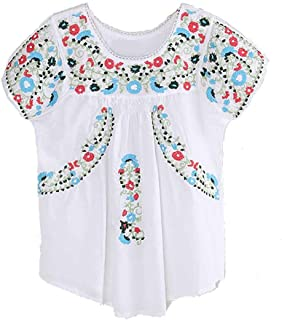 Women's Peasant Tops Mexican Blouse Flowers Embroidered Boho T Shirt