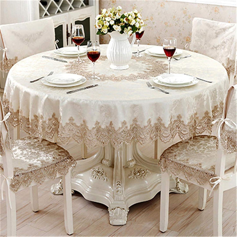 YHEGV Nappe Ronde Classique pour Table Decor Jacquard Dentelle élégante Table Tissu à Manger Table Cabinet Couverture Chaise Set 110X110cm