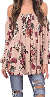 Women Floral Print Tops Off Shoulder Flare Sleeve Shirt Blouse T-Shirt for Ladies