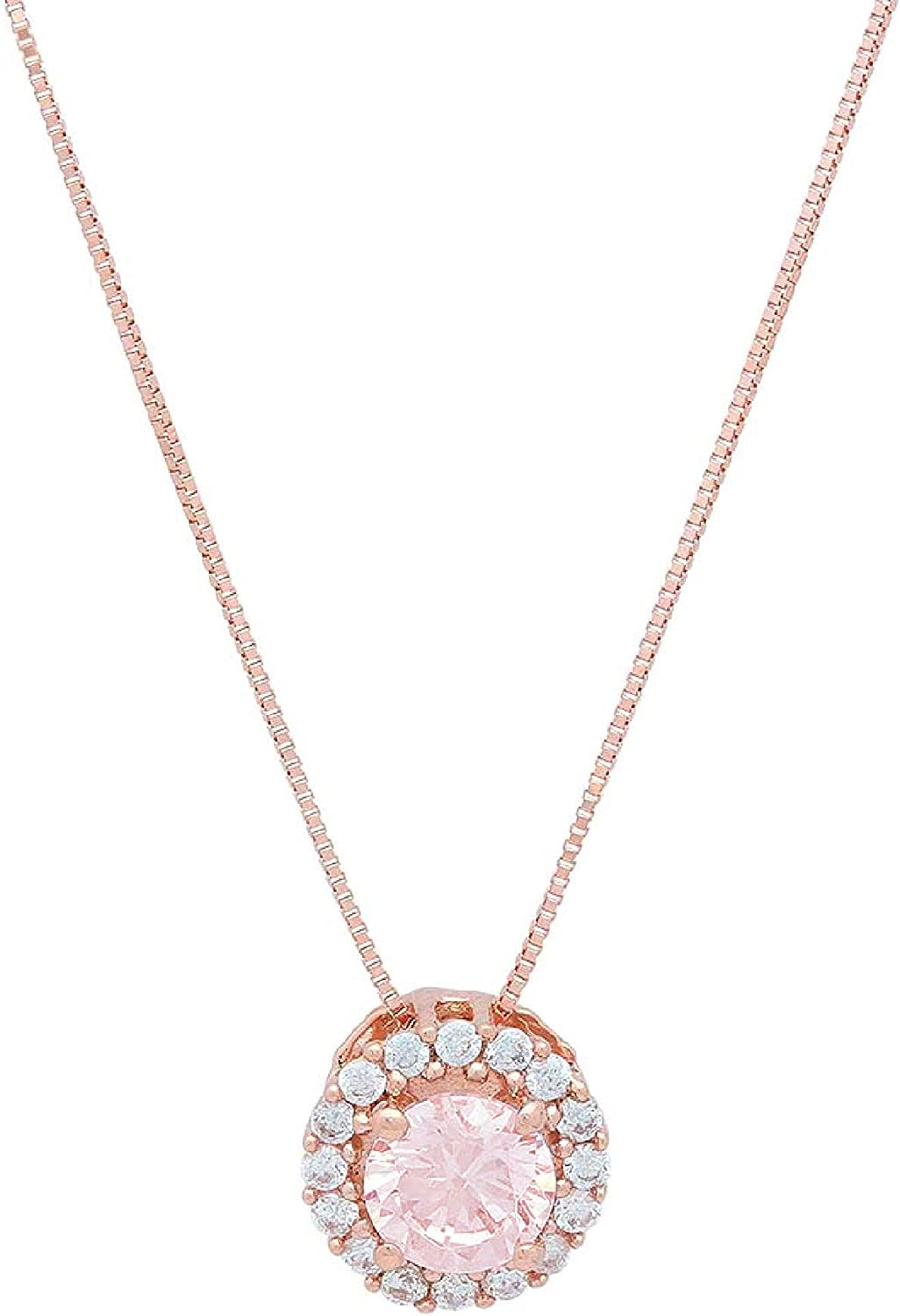 Clara Pucci 1.4 ct Brilliant Round Cut Pave Halo Stunning Genuine Flawless Pink Simulated Diamond Gemstone Solitaire Pendant Necklace With 16