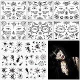 Tatuaje Temporal de Araña MEZOOM 6 Pegatinas de Maquillaje de Telaraña con 6 Tatuajes Temporales de Arañas y Telarañas para Carnaval Fiesta de Disfraces de Cosplay
