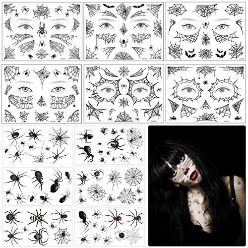 MEZOOM 12 Blätter Schwarz Spinnen Tattoos mit Spinnennetz Gesicht Temporäre Tattoo Schaurige Spinnweben Gesichtsaufkleber für Karneval Masquerade Fasching Punk Party