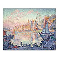 ポール・シニャック《サン=トロぺの港》キャンバス油絵アートワークポスター写真壁の装飾家の装飾-60x90cmx1フレームなし