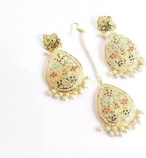 Jadau Indian Bollywood Multicolor Ethnic Punjabi Muslim Earrings Tika Set Jewellery
