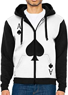 ACE of Spades Poker Boys' Adult Full Zip Hooded Sweatshirt Athletic Sweaters