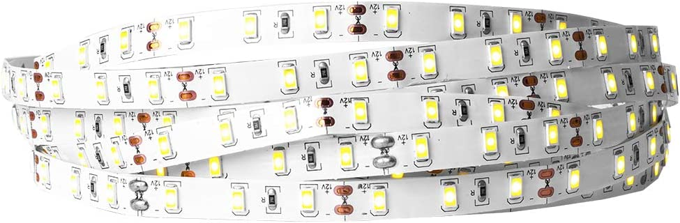 BTF-LIGHTING 5M/16.5ft 5630 Tira de LED flexible de un solo color 300 LEDs Blanco cálido 30W 12V Tira de luz LED regulable para la decoración interior del hogar IP30 no resistente al agua