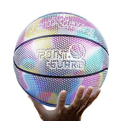 QGGESY Baloncesto Luminoso,Brillante Juego Nocturno Reflectante Street PU Glowing Basketball No.7, con Bolsa de Pelota, inflador, Bolsa de Red, Aguja de Pelota,color1