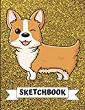 Sketchbook: Winking Corgi Puppy Dog Cover Design with Glitter Printed Notebook and Journal. Perfect Doodling, Sketching and Writing Book for Kids and Adult of All Ages.