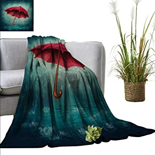 AndyTours Blanket,Winter,Authentic Retro Wooden Handle Under Fall Rainfall Torrent of Rain Urban Image Art Print,Teal,Flannel Super Soft Warm Thick Blanket for Home 30