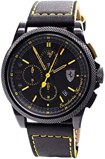 Ferrari Mens Quartz Watch, Analog Display and Leather Strap 830274