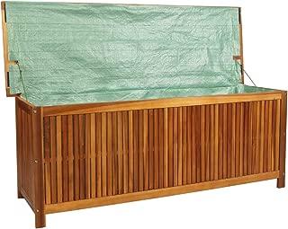 Tidyard Outdoor Patio Garden Storage Chest Deck Box, Solid Acacia Wood 59