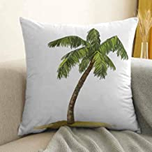 Antony Petty Palm Tree Decor Bedding Soft Pillowcase Cartoon Palms Image Tropical Plant and Sand Serenity Nature Foliage Print Hypoallergenic Pillowcase W20 x L20 Inch Green Brown