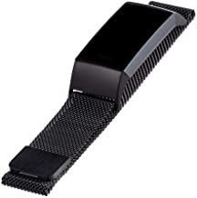 WITHit Designer Stainless Steel Mesh Fitbit Charge 3 and Charge 4 Band, Black – Secure, Adjustable, Fitbit Watch Band Repl...