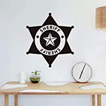 slepat Wall Art Stickers Quotes and Sayings Sheriff Art Font Design Decorative Stickers for Police Station Boys Room Play Room