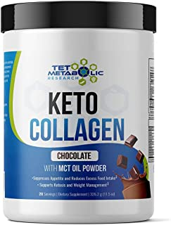 Keto Collagen Protein with MCT Oil Powder from Organic Coconut (Chocolate) 11.5oz. Perfect for Keto Creamer, Snacks. Great...