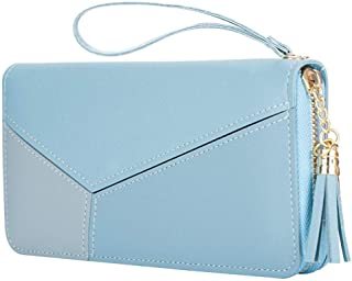 PALAY® Women's Long Wallet Tassel PU Leather Multi- Slots Girls Zipper Coin Large Purse