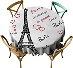 Wendell Joshua Black Tablecloth 60 inch Eiffel Tower,Eiffel Paris is Always a Good Idea Tourism Locations Love Valentines,Red Black White, Suitable for Indoor Outdoor Round Tables