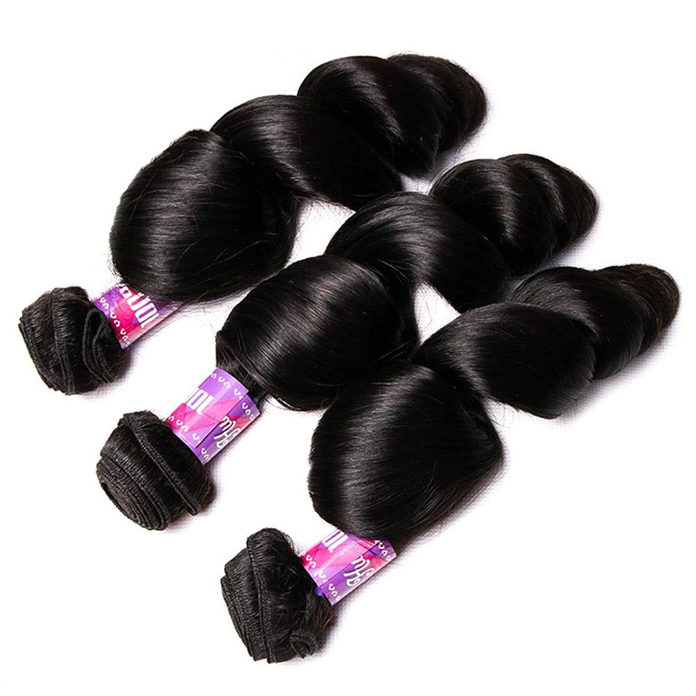 半導体社会主義資料Yrattary 女性のスパイラルカーリー人間の髪の束ルーズカーリー織り100%未処理ブラジル人毛女性複合かつらレースかつらロールプレイングかつら (色 : 黒, サイズ : 24 inch)