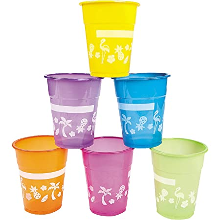 Fun Express Disposable Luau Cups (50 Cups) Bright Colors - Holds 16 oz