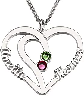 DXYAN Personalized Name Necklace Custom Couples Name Necklace Pendant with Birthstones