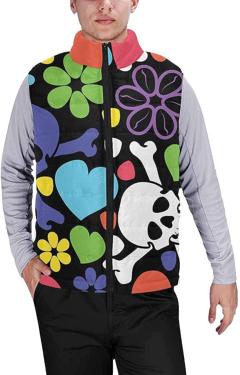 InterestPrint Winter Lightweight Personality Design Padded Vest for Men Skull, Hearts and Flowers