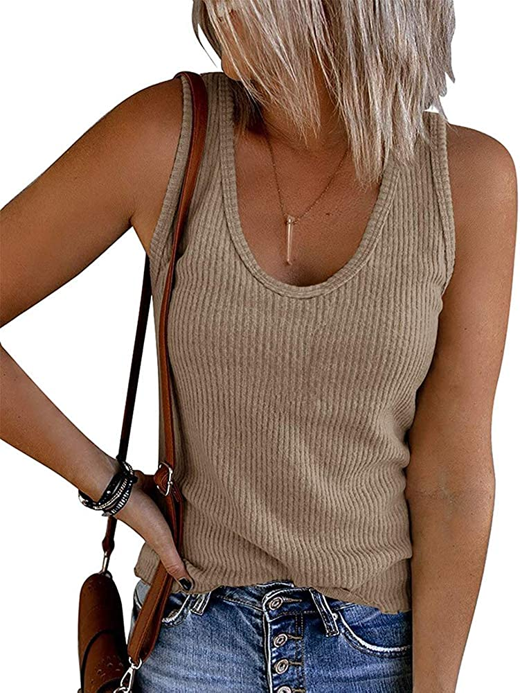 CCBSTS Womens Sleeveless Ribbed Tank Tops Crewneck Casual Summer Basic Solid Cami Knit Tees