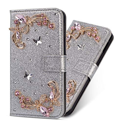 Miagon Hülle Glitzer für Samsung Galaxy A50,Luxus Diamant Strass Blume PU Leder Handyhülle Ständer Funktion Schutzhülle Brieftasche Cover,Silber