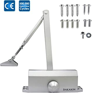 Dakason Automatic Door Closer Grade 3 Size 3 for Residential and Light Commercial Use, Adjustable Spring Hydraulic Door Closer Hinge for Middle Weight Door