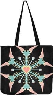 Snowflake Heart Wings Canvas Tote Handbag Shoulder Bag Crossbody Bags Purses For Men And Women Shopping Tote