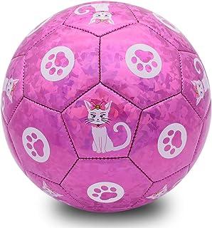Champhox Soccer Ball Size 3 with Ball Pump Outdoors Indoors Sports Ball for Toddlers Girls Children Kids Teens (Glitter Cat)