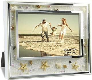 Giftgarden 5x7 Picture Frame Elegant Ocean Beach Scene Glass Frames Desktop and Wall Decor for 7x5 Photograph