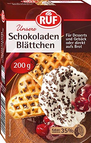 Ruf Schokoladen-Blättchen direkt auf Brot oder für Dessert, Eis, Gebäck, 2er Pack (2 x 200 g)